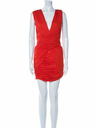 Balmain V-Neck Mini Dress Orange