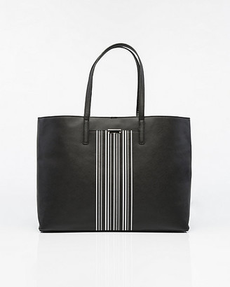Le Château Stripe Saffiano Faux Leather Tote Bag