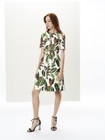 Oscar de la Renta Printed Stretch-Twill Dress