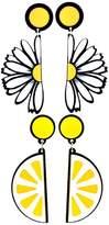 MonkeyJack 2 Pairs Cute Joint Daisy Flower Lemon Earrings Funny Dangle Earring Jewelry