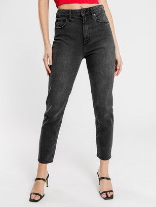 Articles of Society High Amy Mom Slim Jeans in Black Vintage Denim