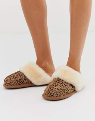Just Sheepskin leopard mule slippers-Beige