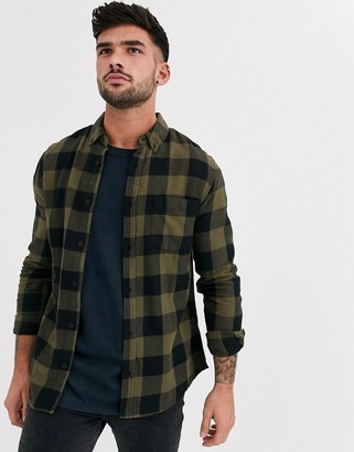 New Look shirt in green buffalo plaid