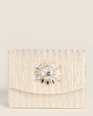 Jessica McClintock Anderson Champagne Satin Crystal Effect Clutch