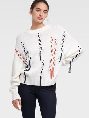 DKNY Women's Thread Through Chunky Sweater - Ivory - Size M