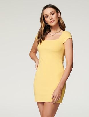 Forever New Georgie Square-Neck Rib Dress - Soft Mango - 10