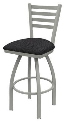 "Holland Bar Stool Jackie 25"" Swivel Bar Stool Finish: Anodized Nickel, Upholstery: Graph Anchor"