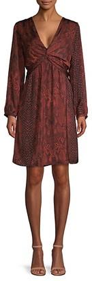 Ava & Aiden Python Print Twist Front Long Sleeve Dress