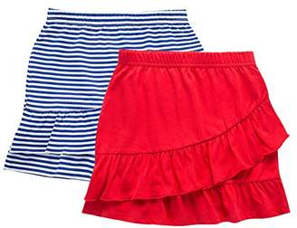 UNACOO 2 Packs 100% Cotton Tiered Ruffle Skirt with Elastic Waistband for Girls(Pink Printed+Navy