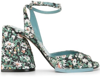 No.21 Daisy-Print Block-Heel Sandals