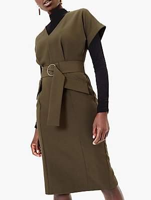 Oasis Belted V-Neck Utility Dress