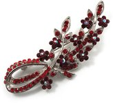 Avalaya Romantic Swarovski Crystal Floral Brooch (Silver&Red)