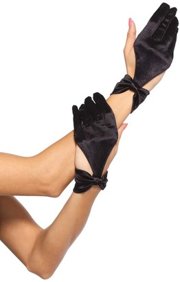 Leg Avenue Women's Satin Cut Out Gloves with Bow Detail