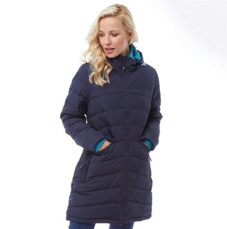 Trespass Womens Homely Padded Hooded Long Jacket Navy