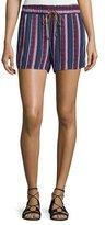 Splendid Beachcomber Striped Shorts, Fiery Red/Navy