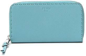 Fendi Roman Embossed Logo Zip Around Wallet
