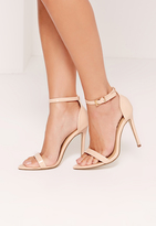Missguided Patent Pointed Toe Barely There Heels Nude