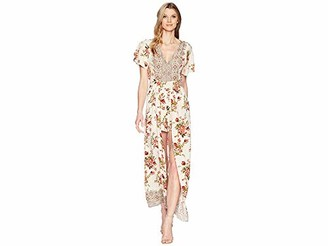 Angie Women's Ivory Printed Vneck Maxi Romper with Sleeves Large