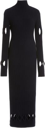 Victoria Beckham Argyle-Cutout Ribbed-Knit Mockneck Sweater Dress