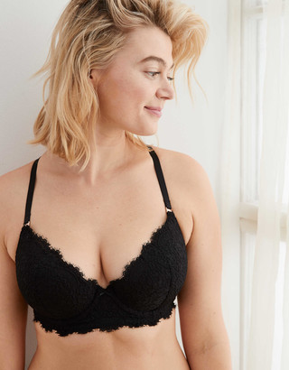aerie Real Power Eyelash Lace Plunge Push Up Bra