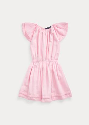 Ralph Lauren Cotton Flutter-Sleeve Dress