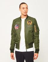 Schott NYC Embroidered Souvenir Bomber Jacket Green