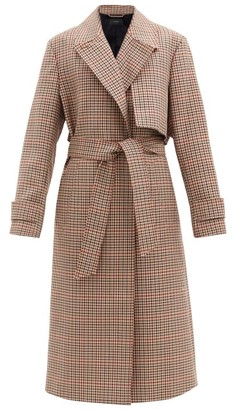 Joseph Chasa Belted Checked Wool-blend Coat - Brown Multi