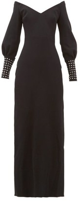 Maria Lucia Hohan Elsie Crystal-cuff Stretch-knit Dress - Black