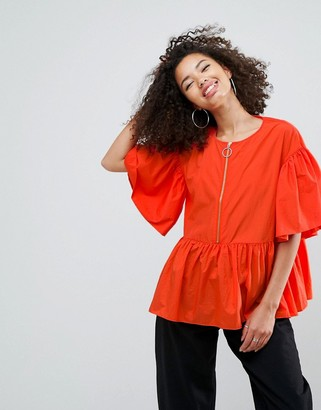 Asos Design Premium Smock Top With Oversized Ring Pull
