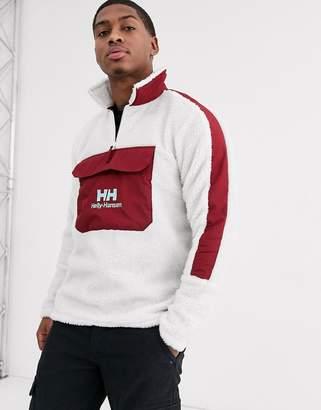 Helly Hansen Yu 1/2 zip borg fleece in white/burgundy