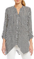 Jones New York Sharkbite Hem Stripe Easy Tunic