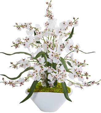 Nearly Natural Dancing Lady Orchid Artificial Arrangement In White Vase
