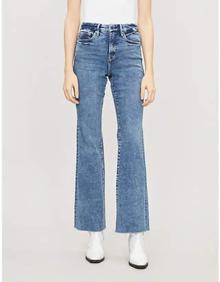 Good American Good Legs high-rise raw-hem straight-leg jeans