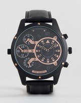 Asos Oversized Watch In Black And Rose Gold With Subdials