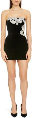 Balmain Crystal Paisley Embellished Strapless Minidress