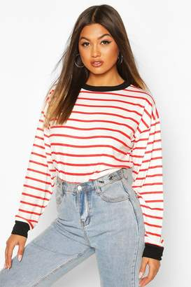boohoo Striped Tee With Contrast Neck & Cuff