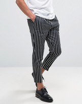 Asos Tapered Fit Smart Pants In Pinstripe