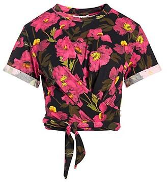 Alice + Olivia Jasper Roll-Sleeve Tie T-Shirt