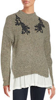 French Connection Embroidered Wool Blend Sweater