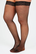 Yours Clothing Black Fish Net Lace Top Hold Ups