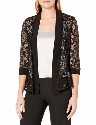 R & M Richards R&M Richards Women's 1 Piece Missy Size Laced Long Jacket with Sequins