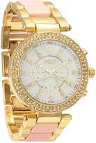 MC M&c Ferretti Women's | Stoned Bezel Acrylic Big Dial Watch | FT14403
