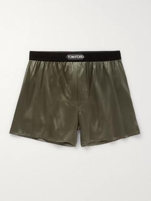 Tom Ford Velvet-Trimmed Stretch-Silk Boxer Shorts