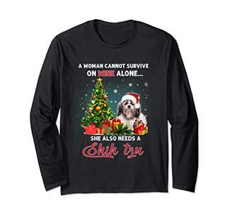 Shih A Woman Cannot Survive On Wine Alone tzu Christmas Long Sleeve T-Shirt
