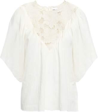 Antik Batik Melly Guipure Lace-paneled Cotton-gauze Top