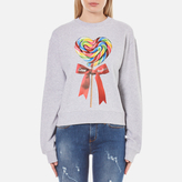 Love Moschino Women's Candy Bow Sweatshirt Melange Grey