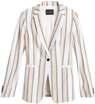 Banana Republic Petite Long & Lean-Fit Linen-Blend Blazer