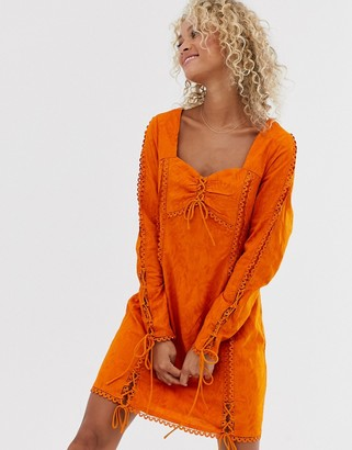 Stevie May Amber ruched long sleeved dress-Orange