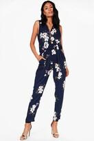 boohoo Floral Print Wrap Front Jumpsuit