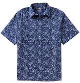 Roundtree & Yorke Short-Sleeve Paisley Polynosic Dobby Pattern Sportshirt